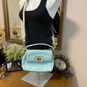 Blue/teal Kate Spade crossbody with handle